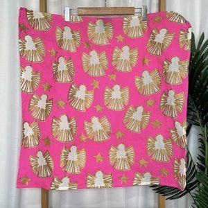 LUSH Pink Gold Snow Fairy Print Knot Wrap Scarf Organic Cotton